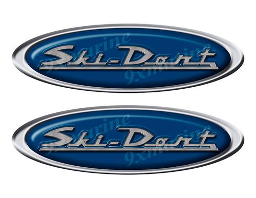 "Two Ski Dart Classic Oval Stickers 10"" long"