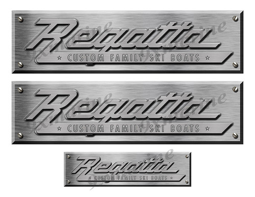 """Regatta Remastered Stickers. Brushed Metal Style - 10"""" long"""