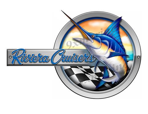 """Riviera Cruisers Marlin Round Designer Sticker 10""""x6.5"""""""