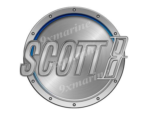 "Scott Remastered Sticker. Brushed Metal Style - 7.5"" diameter"