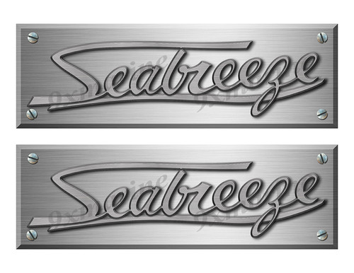 """Seabreeze Old Style Boat Stickers Brushed Metal Look - 10"""" long"""