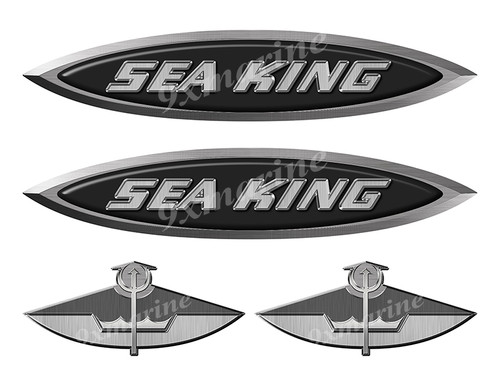 4 Sea King Boats Classic Vintage Stickers Remastered