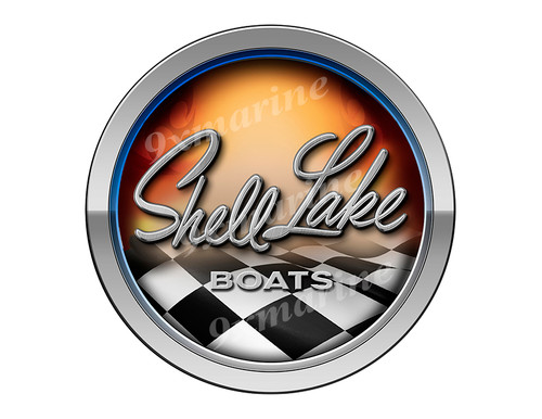 Shell Lake 50s Racing Boat Round Sticker - Name Plate