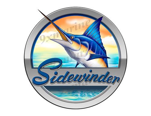"""Sidewinder Boat Marlin Round Designer Sticker 7.5""""x7.5"""""""