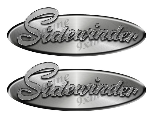 """2 Sidewinder Oval Remastered Stickers. Brushed Metal Style - 10"""" long"""