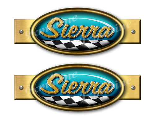 Two Sierra Retro Stickers 9 inches long