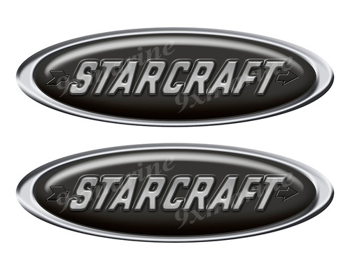 "Two Starcraft Classic Oval Stickers 10"" long"