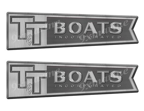 """T&T boat Stickers """"3D Vinyl Replica"""" of originals - 10"""" long"""