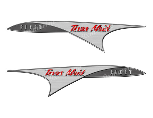 Two Texas Maid Boat Custom Stickers With Model Name of Your Choice