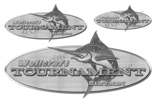 """3 Wellcraft Tournament Boats Vintage Stickers. Brushed Metal Style - 16""""x7"""""""