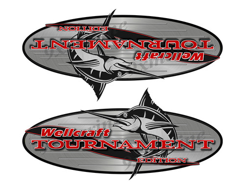 """2 Wellcraft Tournament Boats Classic Vintage Stickers Remastered 9""""x4"""""""