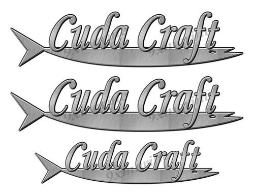 """Cuda Craft boat Stickers """"3D Vinyl Replica"""" of originals - 10"""" long"""
