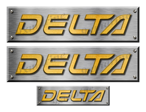 """Delta Remastered Stickers. Brushed Metal Style - 10"""" long"""