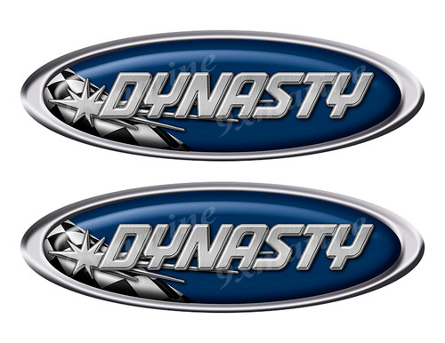 """Two Dynasty Vinyl Racing Oval Stickers 10"""" long each"""