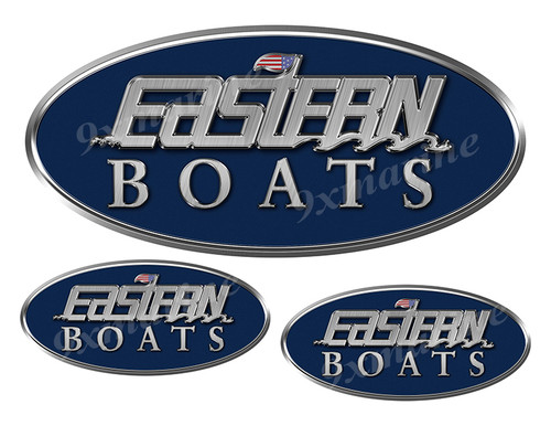 """3 Eastern Classic Oval Stickers 10"""" and  4.5"""" long"""