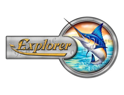 """Explorer Marlin Round Designer Sticker 10""""x5.5"""""""