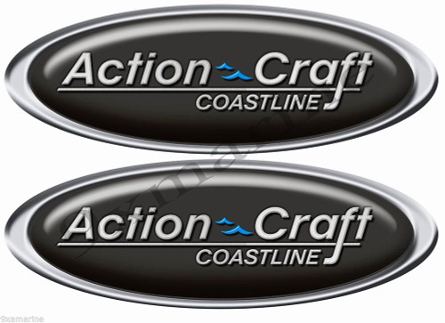Action Craft Boat Oval Vintage Stickers Remastered