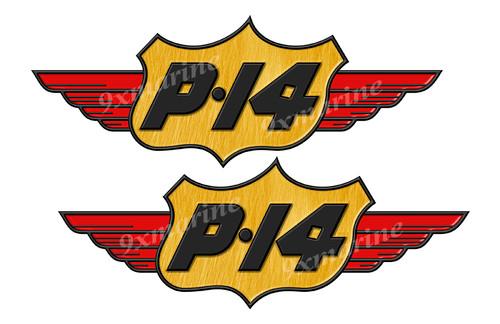 "Two P14 Stickers ""3D Vinyl Replica"" of original 14"" long. Die-cut ready"