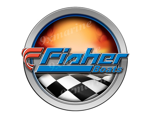 Fisher Racing Boat Round Sticker - Name Plate