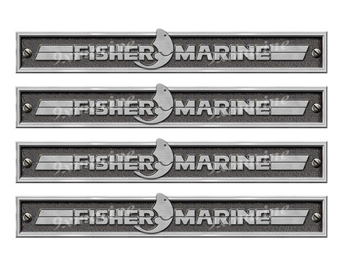"""Four Fisher Marine Stickers - 10"""" long set. Replica Name Plate in Vinyl"""