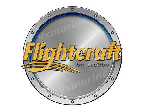 "One Flightcraft Remastered Sticker. Brushed Metal Style - 7.5"" diameter"