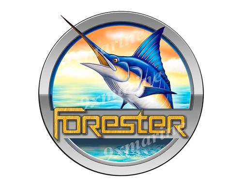 """Forester Marlin Round Designer Sticker 7.5""""x7.5"""""""