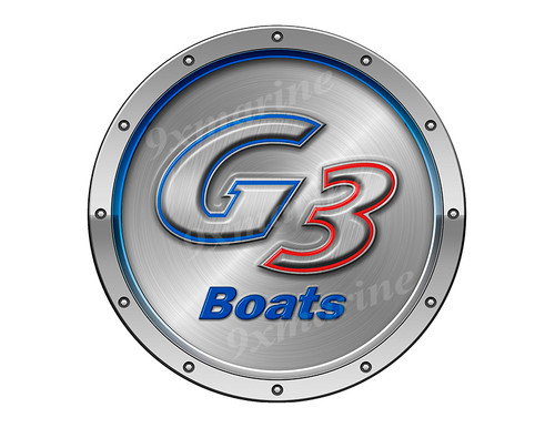 """One G3 Boat Remastered Sticker. Brushed Metal Style - 7.5"""" diameter"""