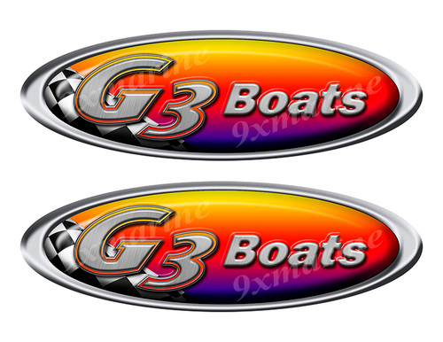 Two G3 Boat Racing Oval Stickers