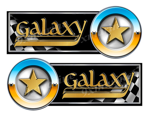 """Galaxy 80s Classic Racing 10"""" long Stickers Left/Right"""