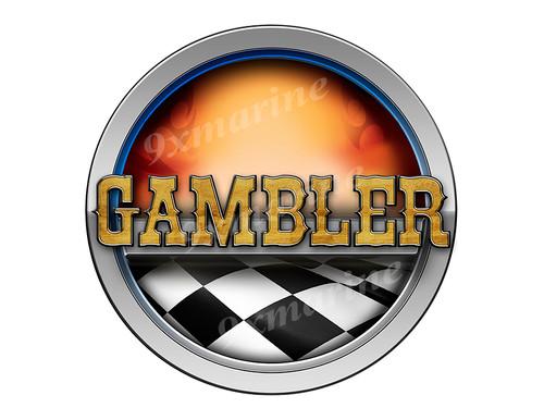Gambler Racing Boat Round Sticker - Name Plate