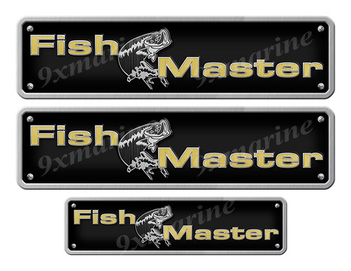 """Two Fishmaster Stickers - 10"""" long set. Replica Name Plate in Vinyl"""
