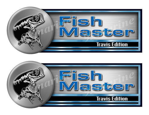 """Two Fishmaster Stickers - 10""""x3.5"""" each"""