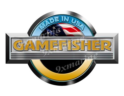 """Single Gamefisher Round Sticker 10""""x6.5"""""""