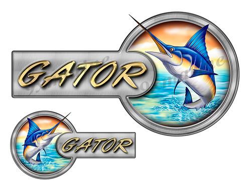 Gator Marlin Round Designer Stickers