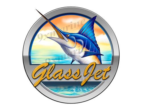 """Glass Jet Marlin Round Designer Sticker 7.5""""x7.5"""""""