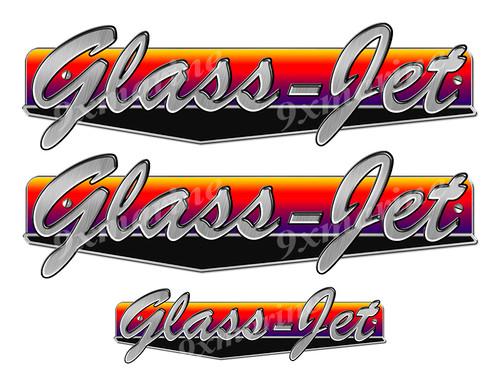 "Glass Jet 50s boat Stickers ""3D Vinyl Replica"" of originals - 10"" long"