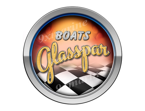 Glasspar Old Style Racing Boat Round Sticker - Name Plate