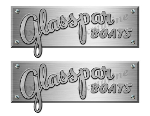"Glasspar Boats Stickers Brushed Metal Look - 10"" long"