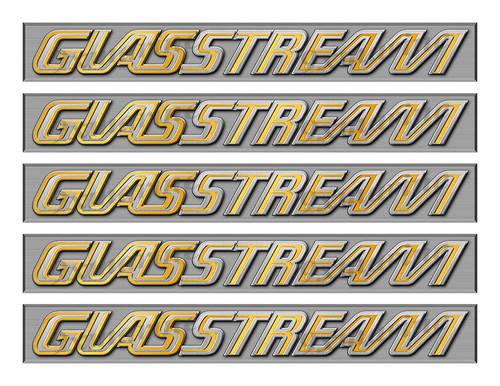 "Glasstream Power Boat Stickers Brushed Metal Look - 10"" long"
