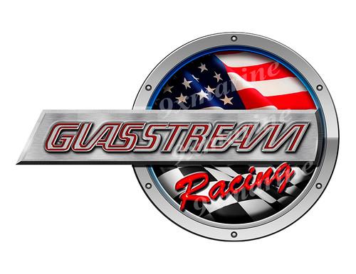 "One Glasstream Racing Round Sticker 10""x6.5"""