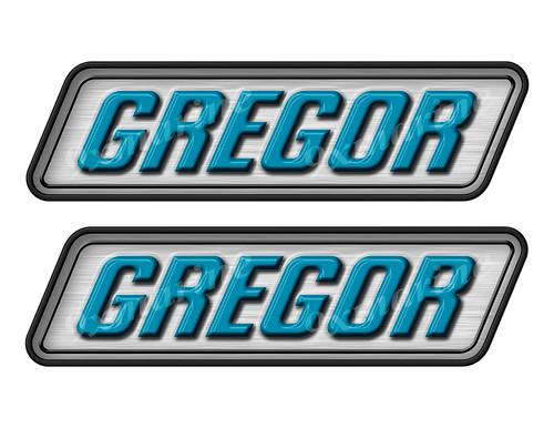 "Gregor boat Stickers ""3D Vinyl Replica"" of originals - 10"" long"