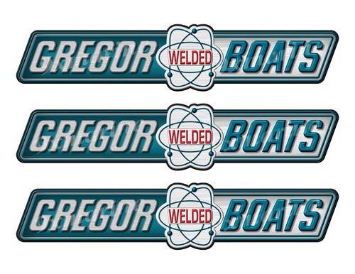 """Gregor Welded boat Stickers """"3D Vinyl Replica"""" of originals - 10"""" long"""