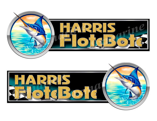 2 Harris FloteBote Marlin Left/Right Stickers