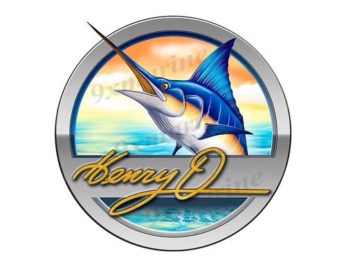 """Henry O Marlin Round Designer Sticker 7.5""""x7.5"""""""