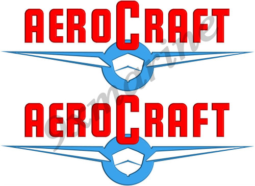 "Two Aero Craft Boat Sticker. Vintage 10""X3.5"" long each"