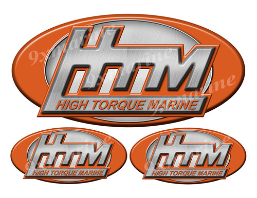 """3 HTM Classic Vintage Stickers Remastered - 10"""" and  5"""" long"""