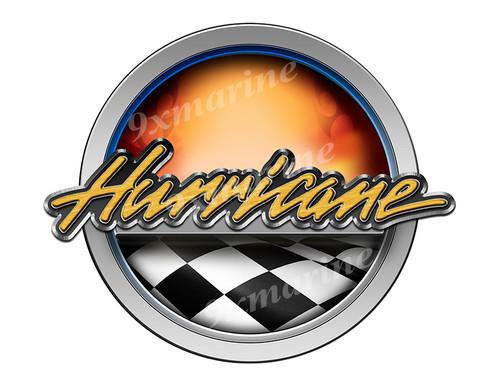 Hurricane Racing Boat Round Sticker - Name Plate