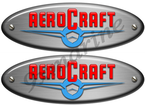 "Two Aero Craft Boat Oval Stickers. Vintage 10""X3.5"" long each"