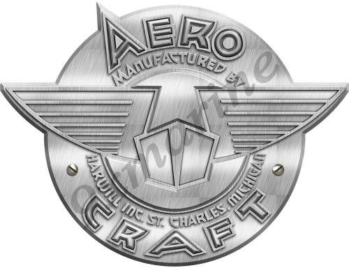 "Aero Craft Boat Sticker. Vintage brushed metal for Alum. Boat - 10""X8"" inch long"