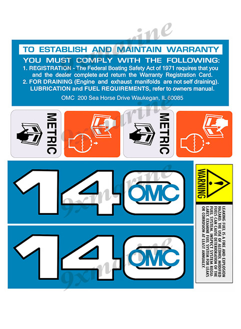 OMC Cobra and King Cobra Remastered Engine Sticker 140